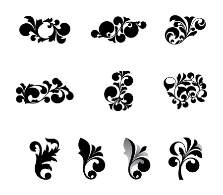 black decorative elements on a white background