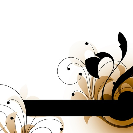 black and brown decorative elements on a white background