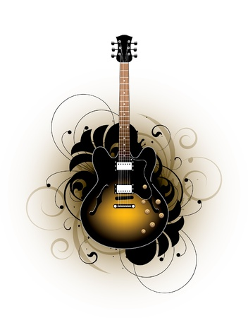 electric guitar on a floral background Vector