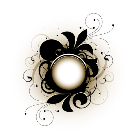 brown swirl: Floral elements on a white background Illustration