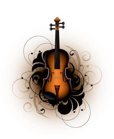 classical violin on a floral background Vector
