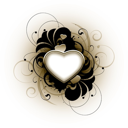 Heart and floral elements on a white background Illustration