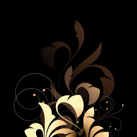 accent abstract: Floral elements on a black background