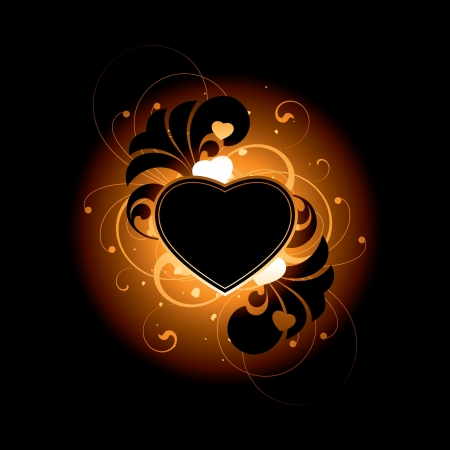 Heart and floral elements on a dark background Vector