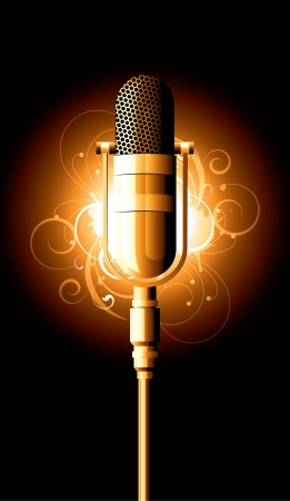 mike: microphone metal on a white background Illustration