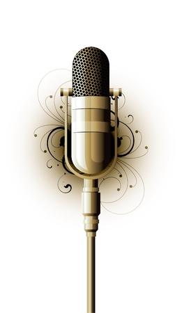 recording studio: microfoon metaal op een witte achtergrond Stock Illustratie