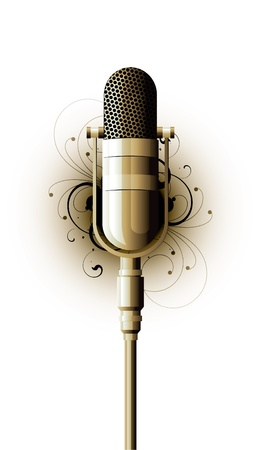 recordings: microphone metal on a white background Illustration