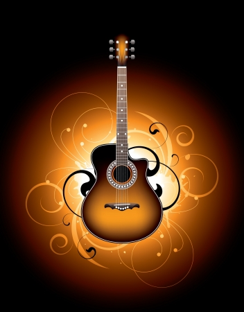 acoustic guitar on a floral background Vector
