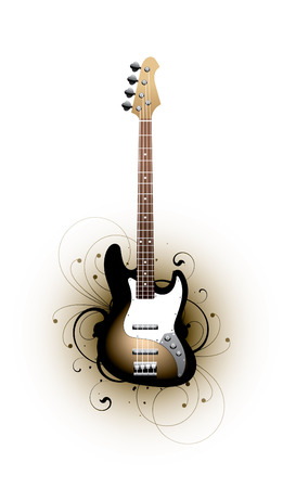 telecaster: bass guitar on a floral background