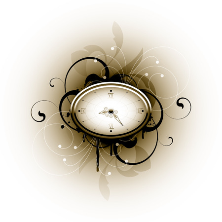 Clock on a floral background