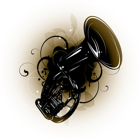 tuba: musical instrument on a floral background