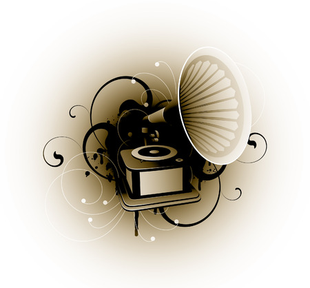funky music: gramophone on a floral background