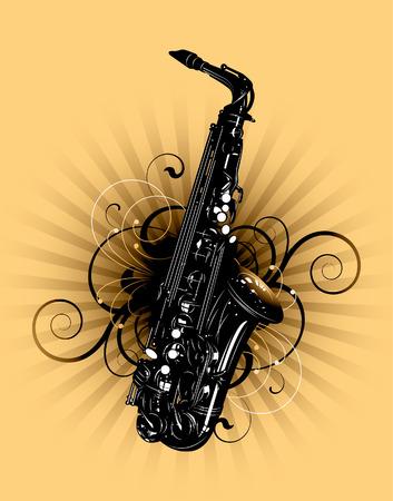 soprano saxophone: saxofón en un fondo floral
