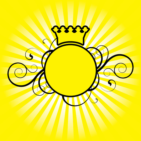 circle with decorative elements on a yellow background Illustration
