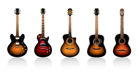 fingerboard: five guitars on a white background