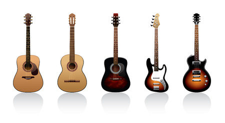 five guitars on a white background