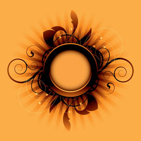Orange abstract with decorative elements