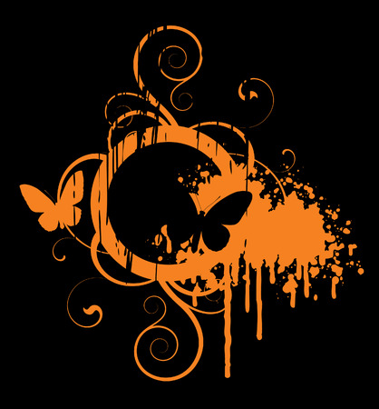 Orange abstract with butterfly