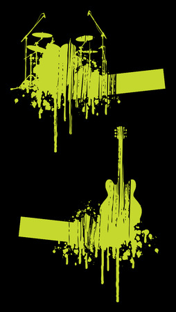 Music abstracts on black background