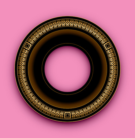 Round frame on a pink background