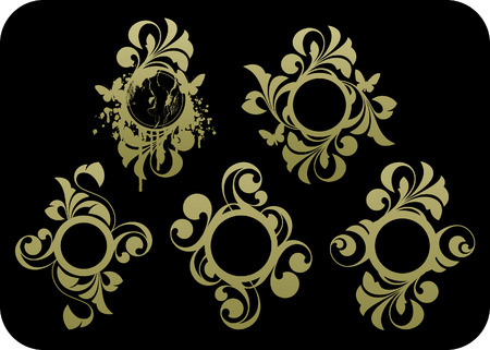 background abstracts: Floral abstracts on a black background