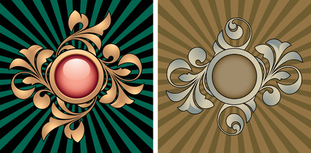 Retro abstracts with decorative elements Illustration