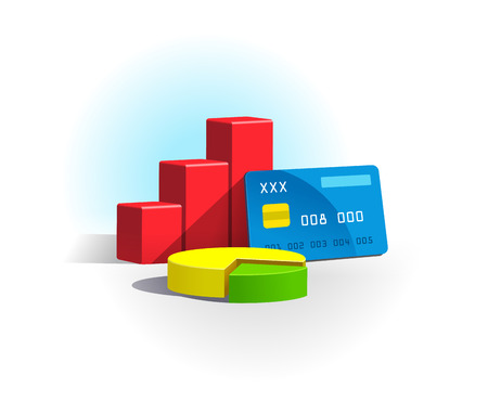 Chart and credit card on a white background Illustration