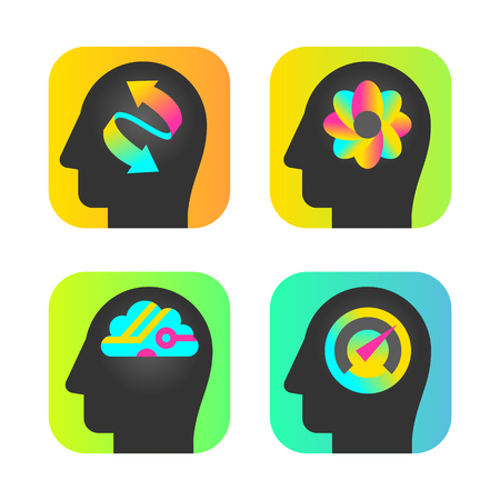 profile measurement: head silhouettes with brain and intelligence Illustration
