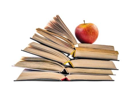 scientific literature: Fresh Apple on book pile