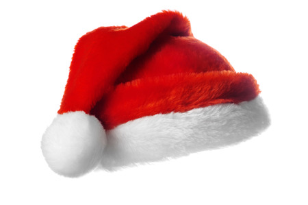 クリスマス サンタ帽子、白で隔離