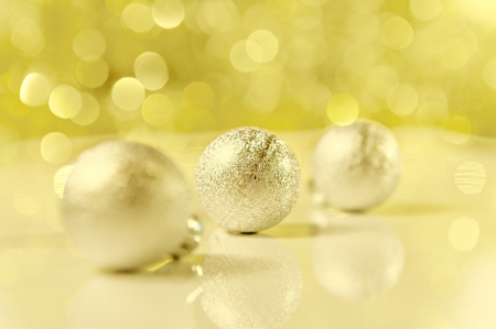 Christmas abstract background. Shallow depth of field, focus on the middle ball photo