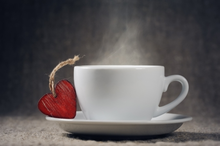 Cup of coffee on valentine day