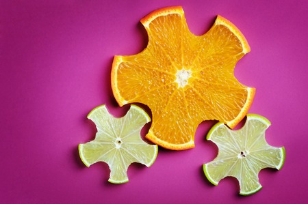 Gear drive made of citrus slices 免版税图像
