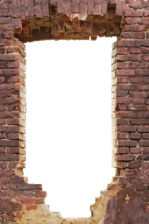 white hole: Old broken brick wall with white hole Stock Photo