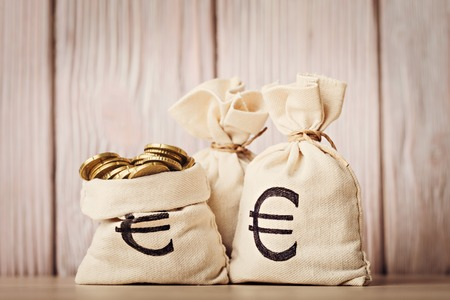 bag of money: Money bags with euro coins over defocused wooden background