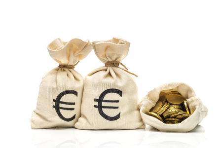 Money bags with Euro coins, isoltaed on white Stok Fotoğraf