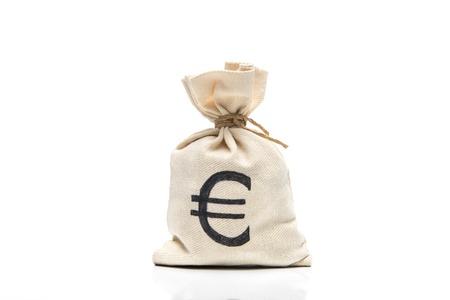 ユーロ記号は、白で隔離でお金の袋