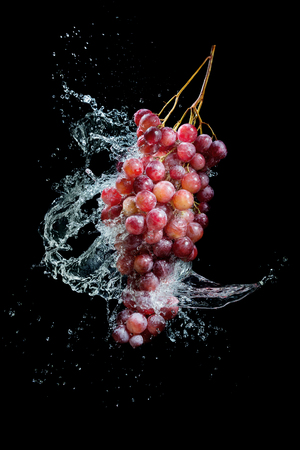 Bunch of grapes in water splash on black background