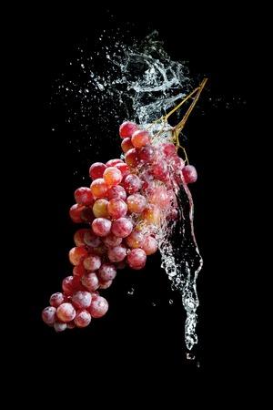 黒の背景に水のしぶきとブドウの房 写真素材