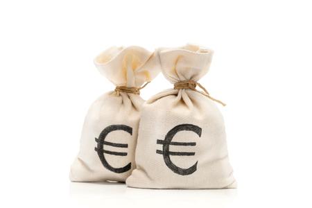 ユーロ通貨記号、白い背景で隔離のお金の袋