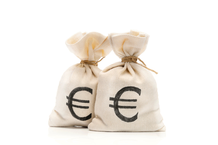 Money bags with Euro sign, isolated on white background Stok Fotoğraf