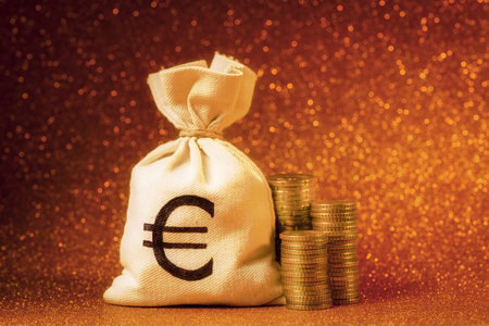 moneybag: Moneybag with Euro coins against defocused lights