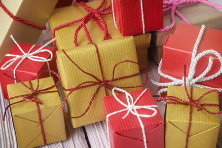 heap up: Close up of gift boxes heap