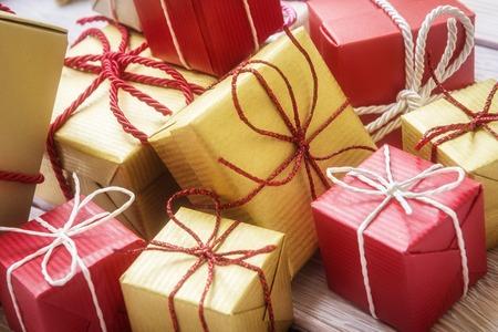 heap: Gift boxes heap Stock Photo