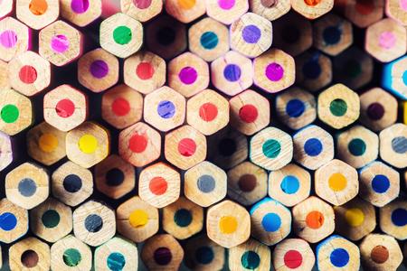 nonuniform: Pile of multicolored pencils Stock Photo