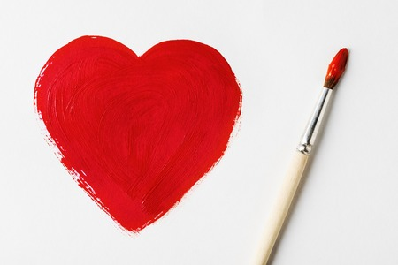 copy sapce: Painted with brush red heart symbol Stock Photo