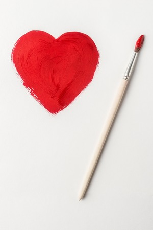 copy sapce: Painted with brush Valentines heart symbol
