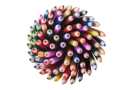 Top view of color pencils isolated on white background