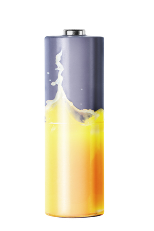 expose: Double expose of battery and orange juice, isolated on white Stock Photo