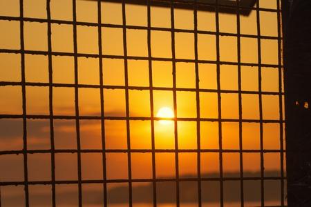 metal grid: Sunrise sun behind a metal grid